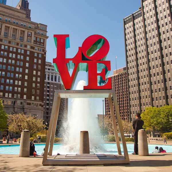 Life Size High Polished Love Park Statue Philadelphia Metal Art Love Sculpture Font Replica for Sale--CSS-42