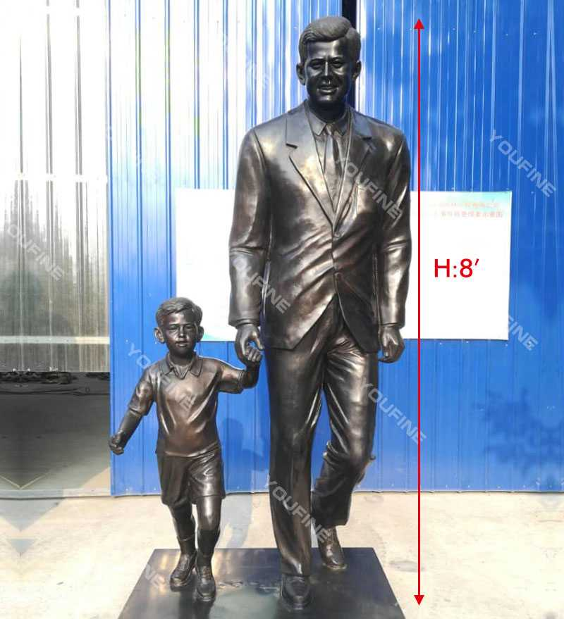 Life size Custom made from photo bronze statue John Fitzgerald Kennedy with child design replica for sale