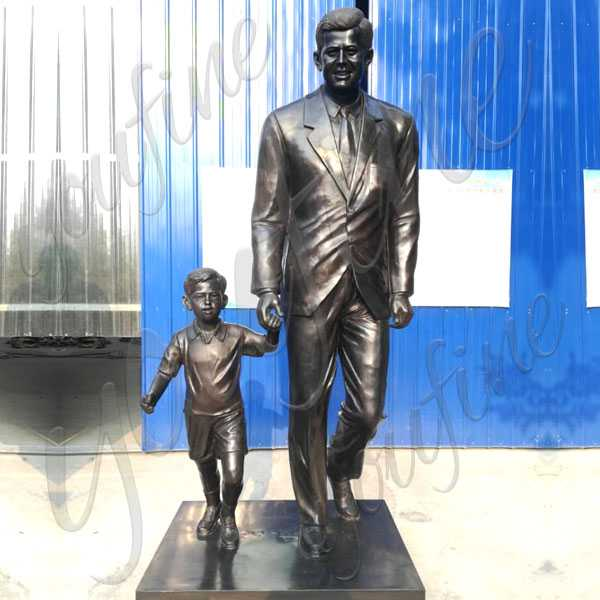 Life size Custom made from photo bronze statue John Fitzgerald Kennedy with child design replica for sale from China foundry--BOKK-512