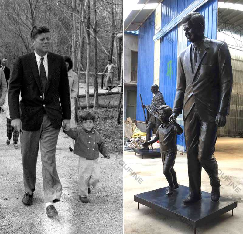 Life size Custom made from photo bronze statues John Fitzgerald Kennedy with child design replica for sale from China foundry