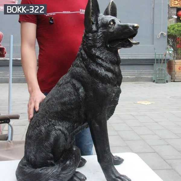 Life Size Antique Hound Dog Statue Bronze Garden Statue Black Dog Lawn Ornamental for Memory for Sale BOKK-322