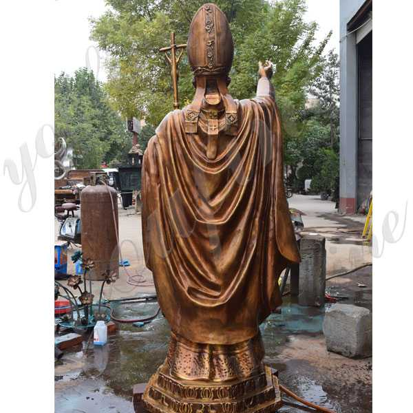 Life size catholic statue bronze pope John Paul II statue for church decor for sale