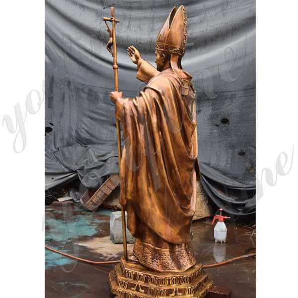Life size catholic statue bronze pope John Paul II statue for sale for church decor for sale