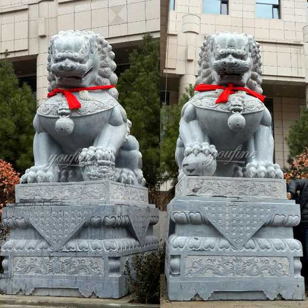 Life Size Chinese Marble Lion Statue Guardian Lions With Ball for Garden Outdoor Cheap Stone for Sale MOKK-118