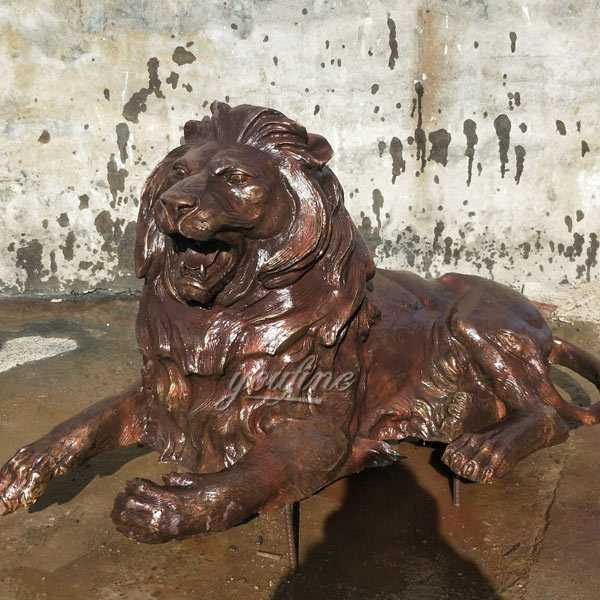 Life Size Custom Casting Bronze Lion Guardian Statue Outdoor Lion Sculpture for Front Porch for Sale BOKK-492