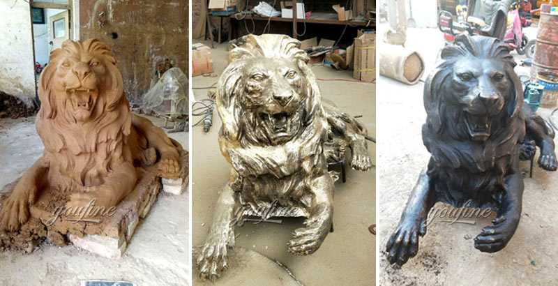 Life size custom casting bronze lion sculptures guardian outdoor lion statue for front front porch and home for sale