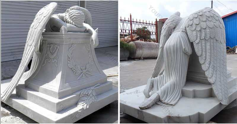 Life size custom made weeping angel monument headstone angel statues for graves memorials for sale