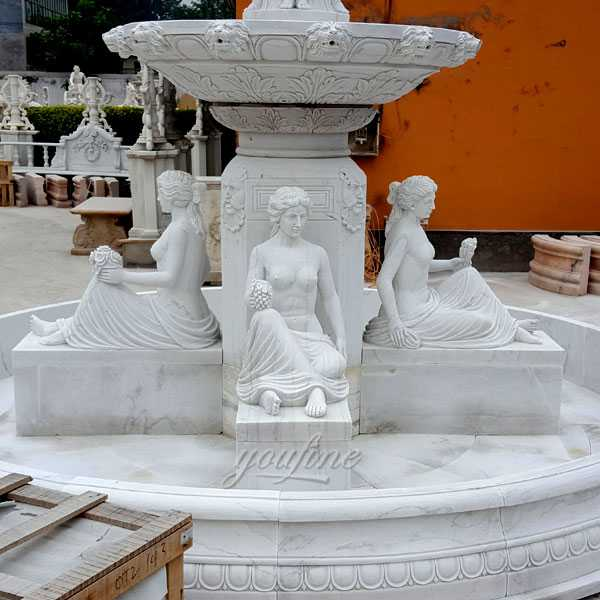 Life size front yard tired water white marble fountains for our american friend for sales--MOKK-85
