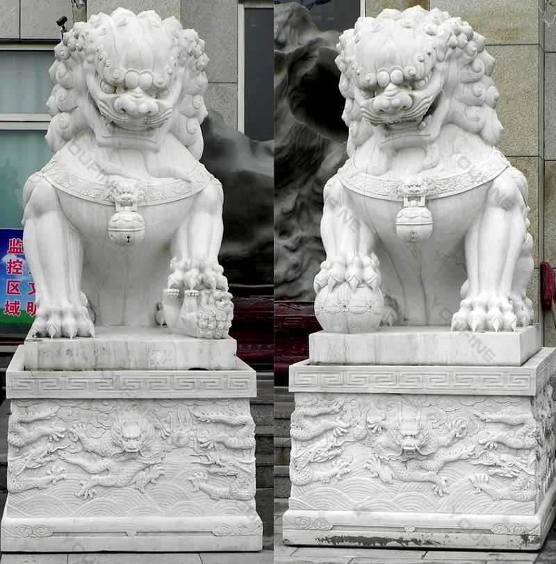 Life size garden statue chinese guardian lions marble foo dog statues design for entrance for sale