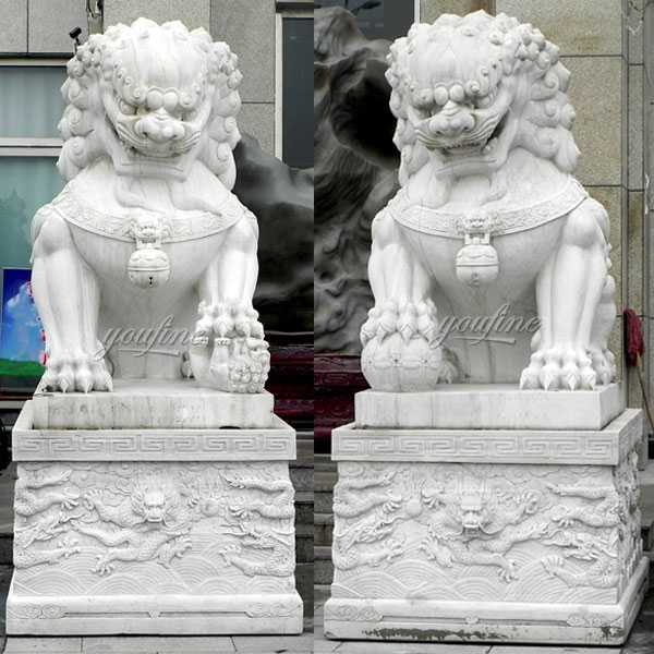 Life size garden statue chinese guardian lions stone art marble foo dog statues design for entrance for sale--MOKK-117