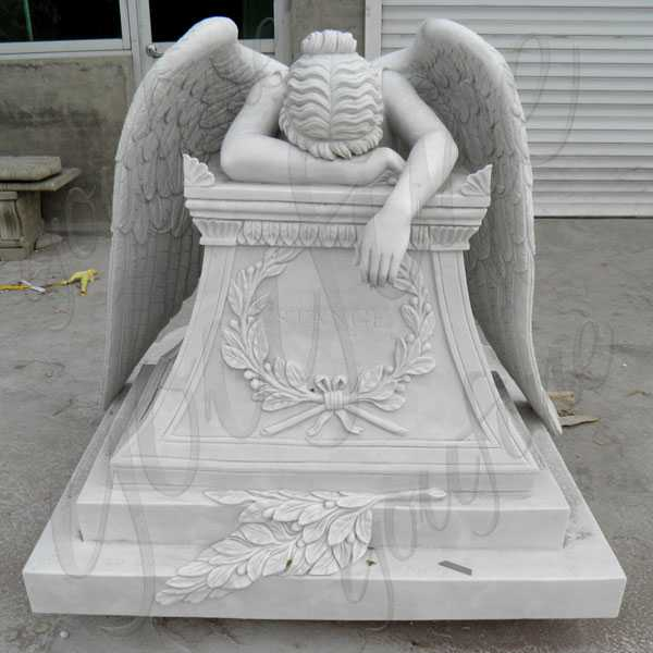 Life size weeping angel monument headstone custom made angel statues for graves memorials for sale--MOKK-112