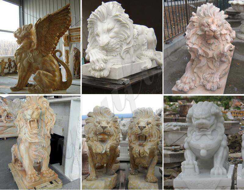 MOKK-93 stone driveway lion entrance statues for sale