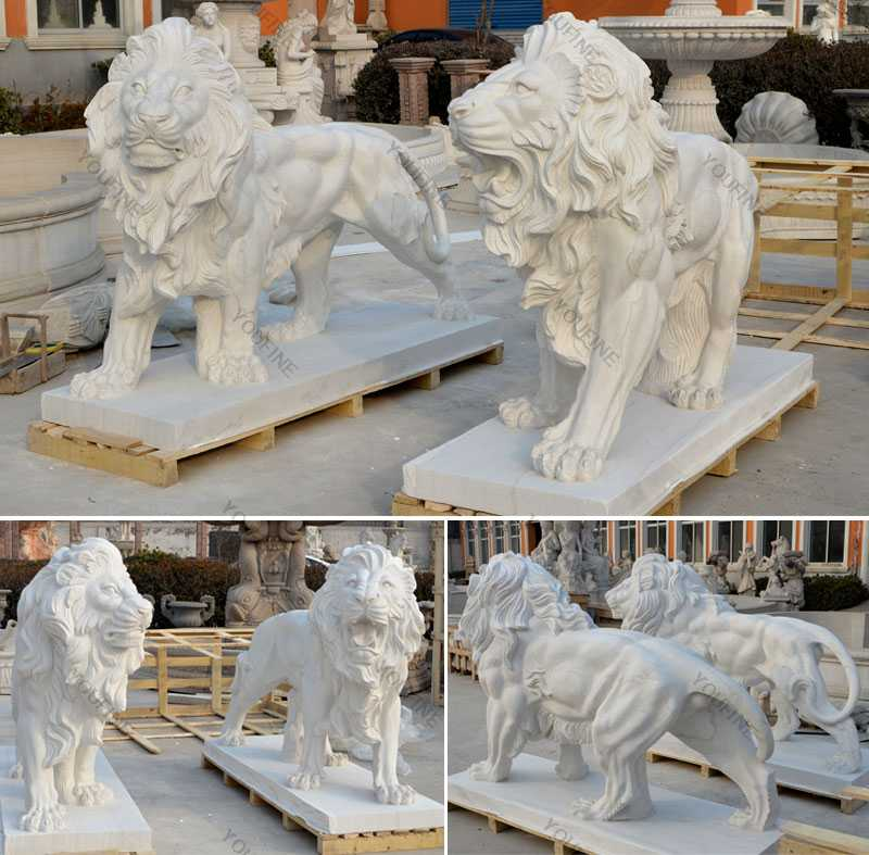 Outdoor Italian Marble Statue Roaring And Standing Lion Statue For Front Porch For Sale