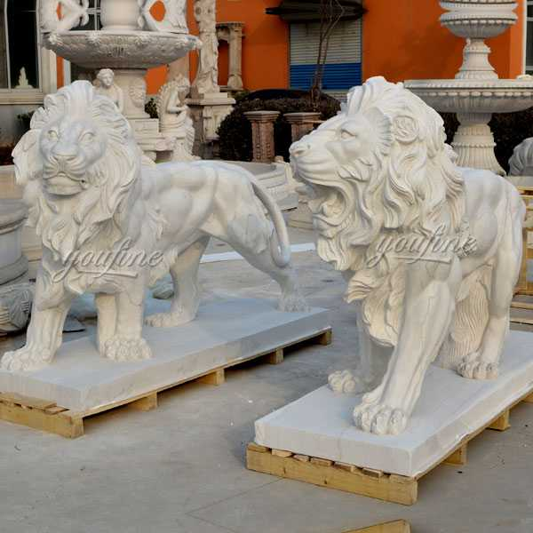 Outdoor Italian Marble Statue Roaring and Standing Lion Statues for Front Porch Home Decor for Sale MOKK-108