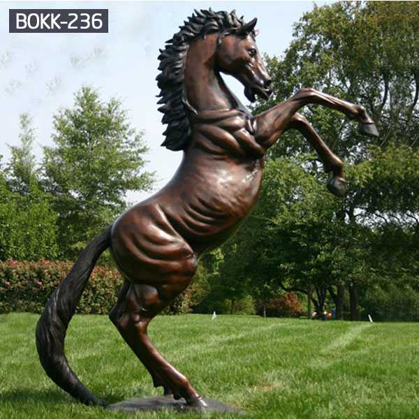 Outdoor Hot Cast Antique Rearing Horse Statue Metal Garden Bronze Lawn Ornaments Horse Sculptures For Sale–BOKK-236
