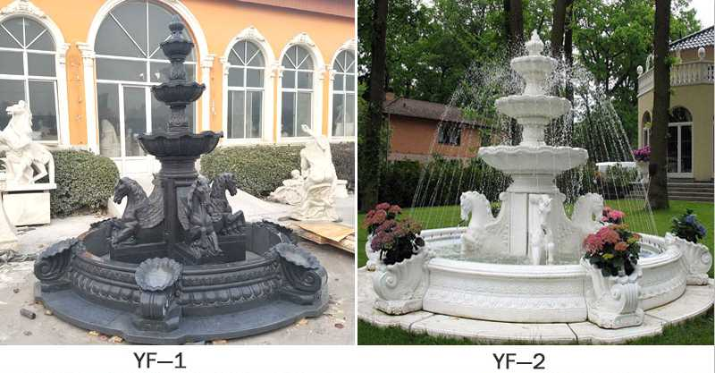Popular outdoor garden marble tiered water fountain with horse designs for sale