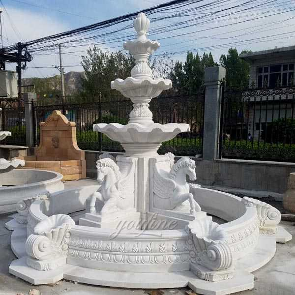 Just $6800 Popular outdoor garden pure white marble tiered water fountain with horse designs for sale–MOKK-84