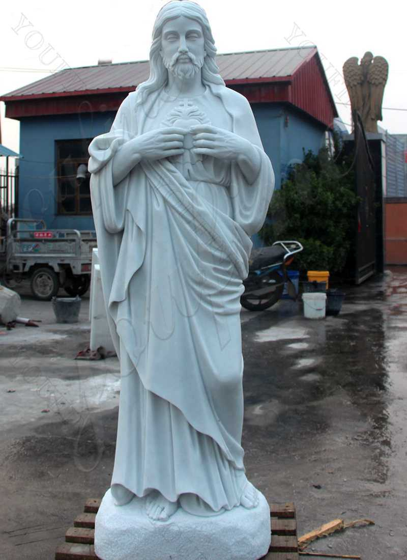 Sacred Heart Jesus Statues Made of White Marble for Sale