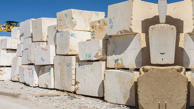 Selection of Raw material white marble
