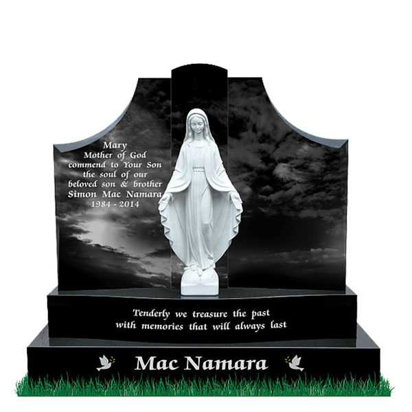 Upright Cemetery Headstones Catholic Headstones Black Headstone Of Granite And Virgin Mary Statues Design For Sale--MOKK-60
