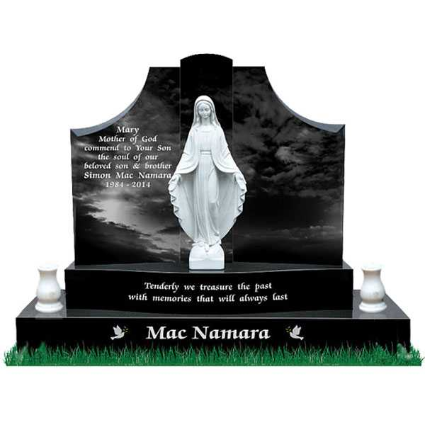 Upright cemetery headstones catholic headstone black headstone of granite and virgin mary statues design for sale