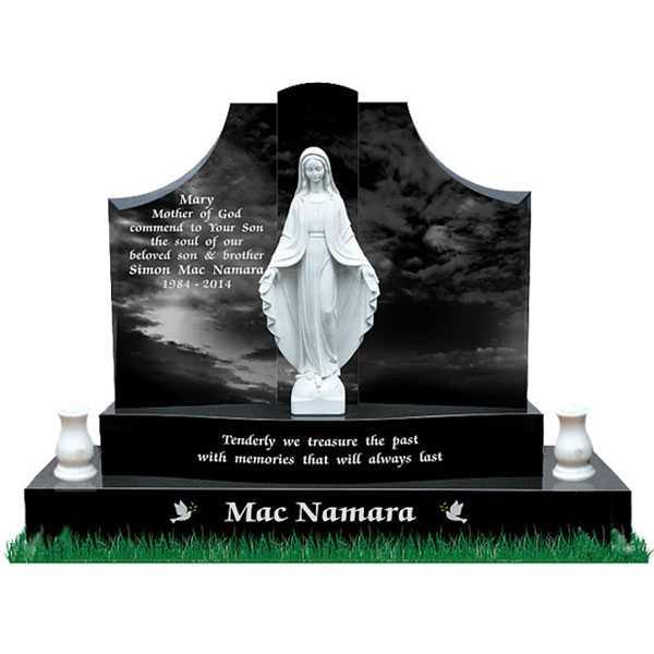 Upright Cemetery Headstones Catholic Headstones Black Headstone Of Granite And Virgin Mary Statues Design For Sale--MOKK-60