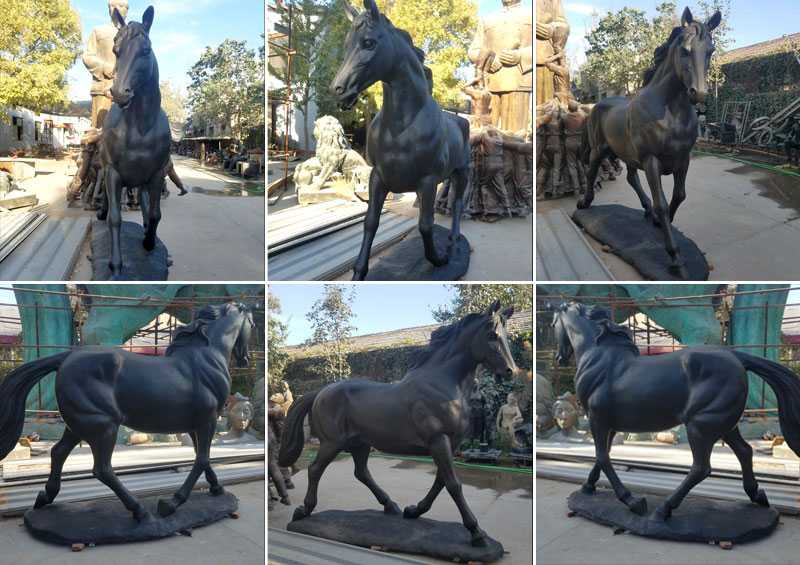black standing bronze horse for street decoration