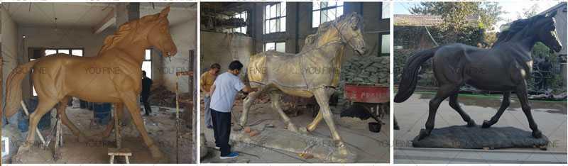 bronze black standing horse statue for sale