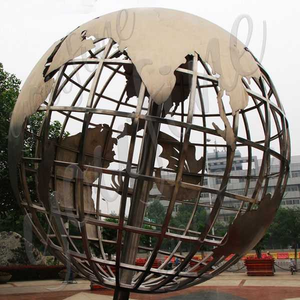 Contemporary Metal Garden Sculpture Decorative World Globe Design Stainless Steel Garden Spheres for Sale–CSS-51