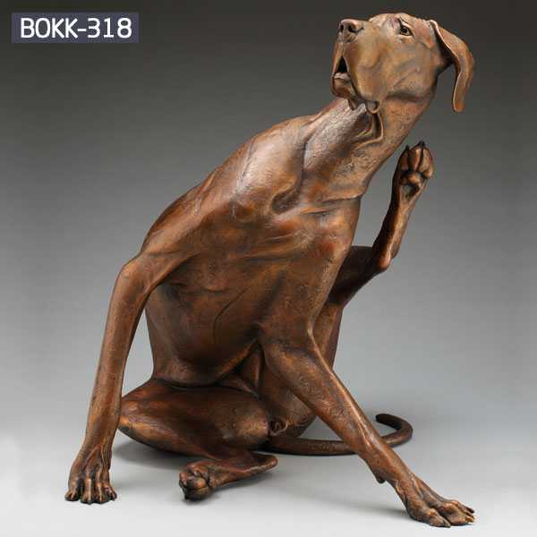Custom Made Casting Bronze Dog Garden Statues Large Outdoor Dog Statues Yard Art for Sale BOKK-318