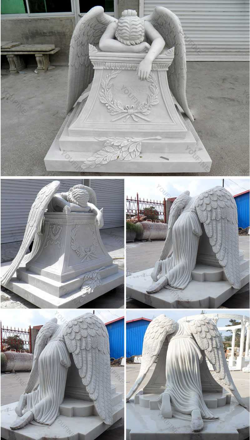 custom made life size weeping angel monument headstone angel statues for graves memorials for sale