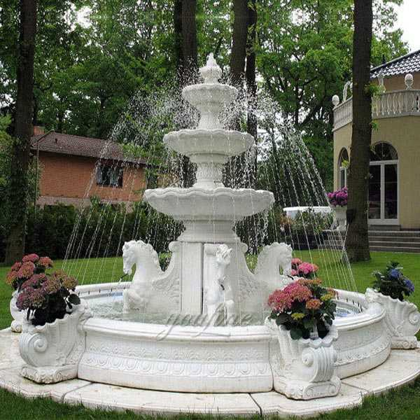 Popular outdoor garden pure white marble tiered water fountain with horse designs for sale--MOKK-84