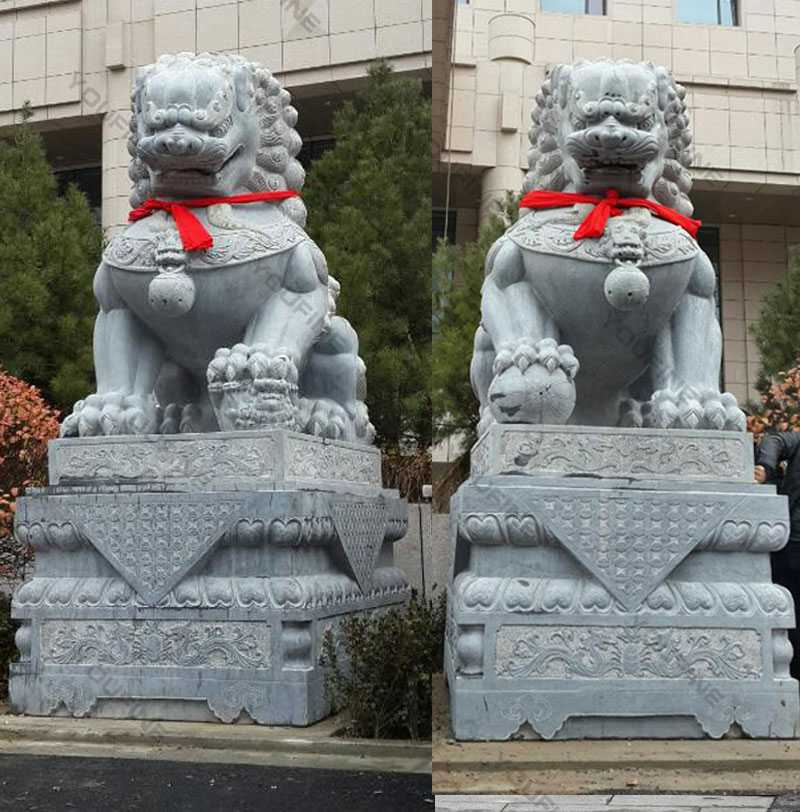guardian lions with ball for garden outdoor cheap stone lion statue for sale
