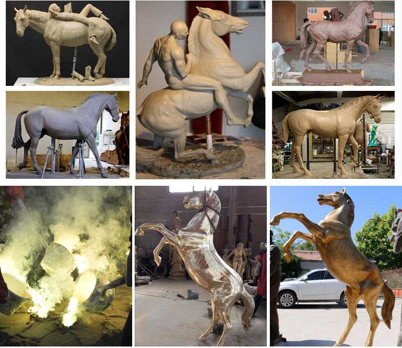 hot casting bronze rearing horse sculpture for sale