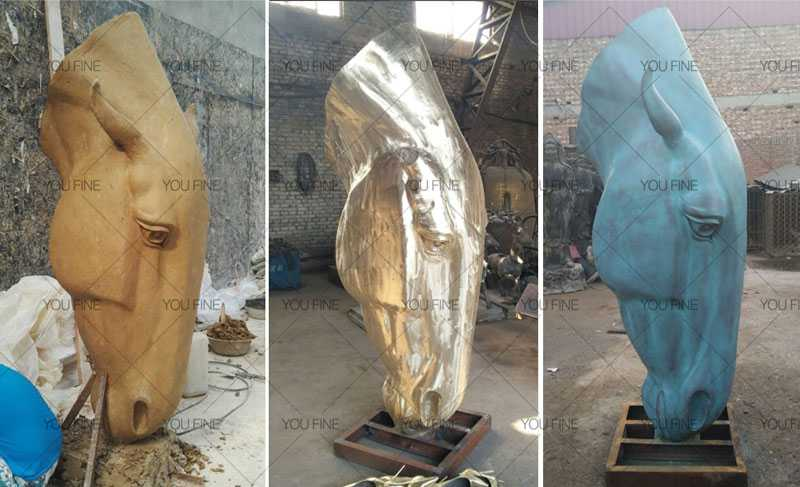 large antique bronze horse head design for sale