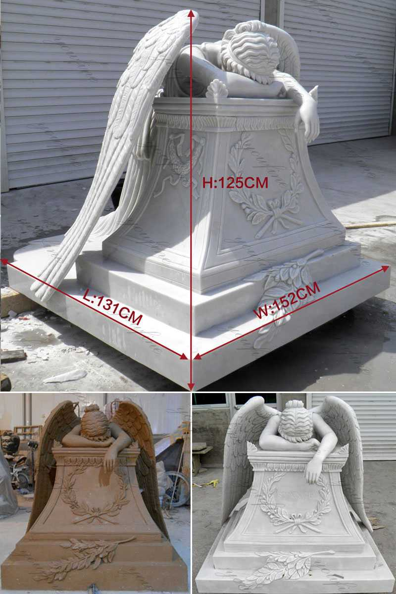 life size white marble weeping angel headstone design for sale