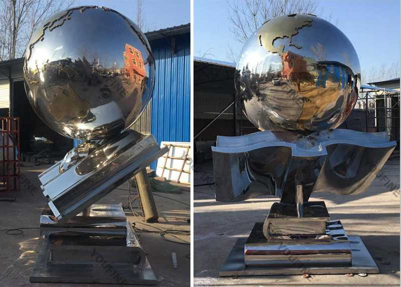 metal globe sculpture for sale
