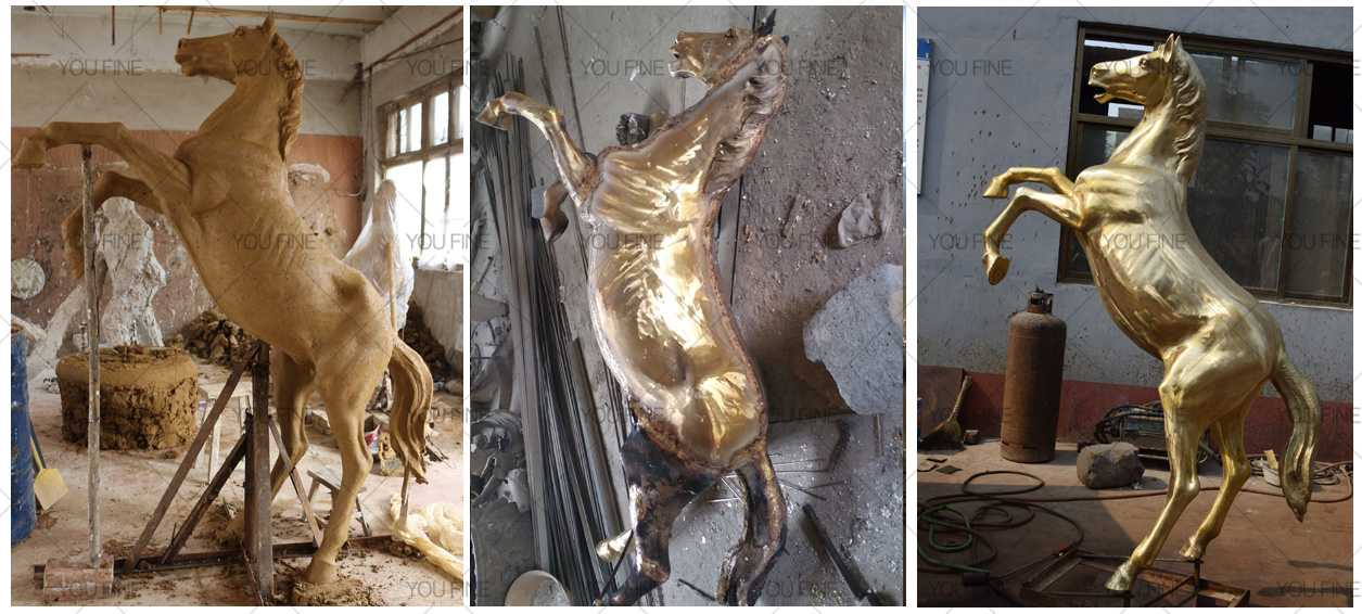 metal rearing horse statue for lawn statue