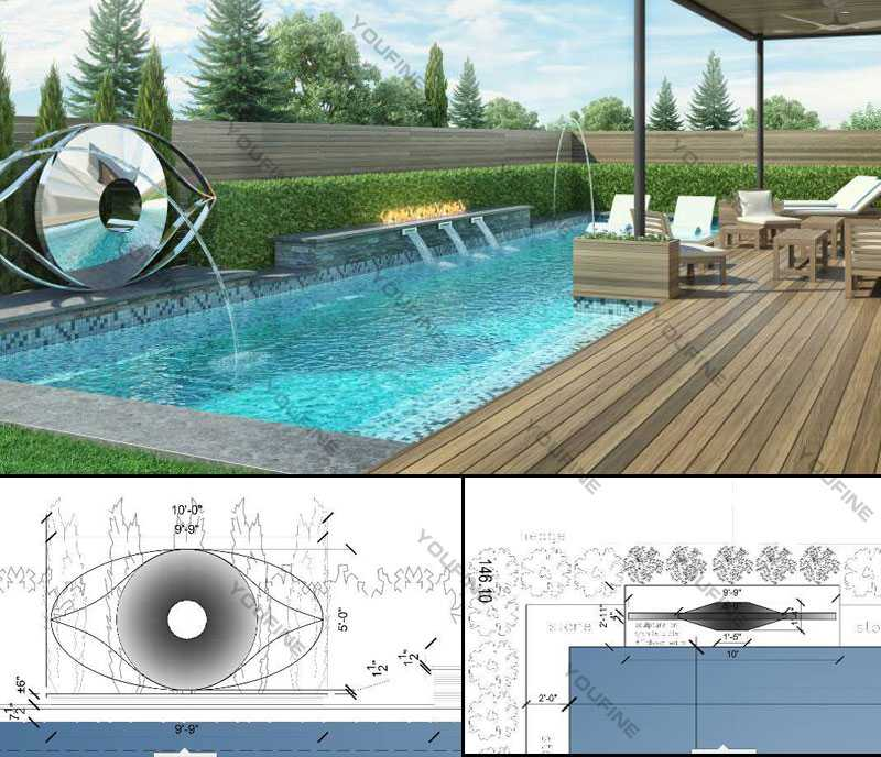 mirror polished contemporary outdoor sculptures beside the swimming pool design for sale