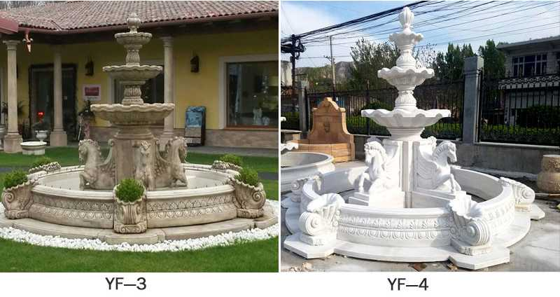 outdoor garden marble tiered water fountain with horse designs for sale