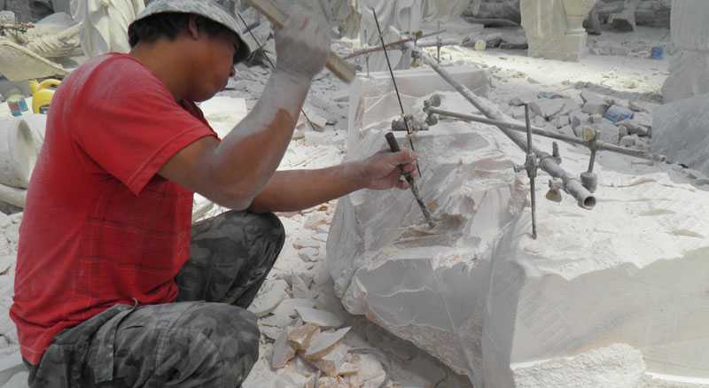 sculpting on the marble