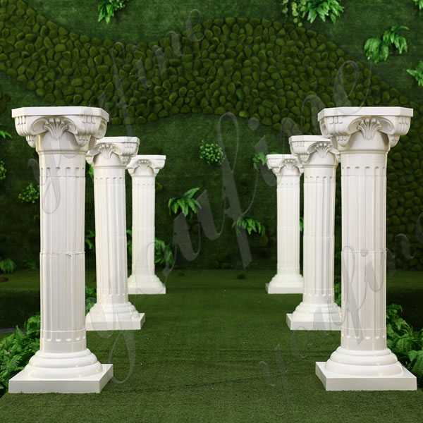 Ancient Greek Column Supplier Ionic Order Column Round Fluted White Marble Pillars with Marble Base Design for the Welcome Venue for Sale  MOKK-154