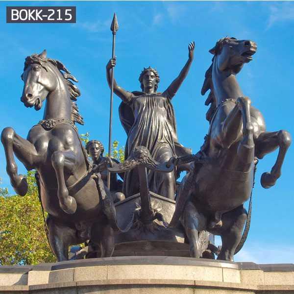 Ancient Roman Bronze Chariot Statue Large Vintage Bronze Horse Garden Statues for Sale BOKK-215