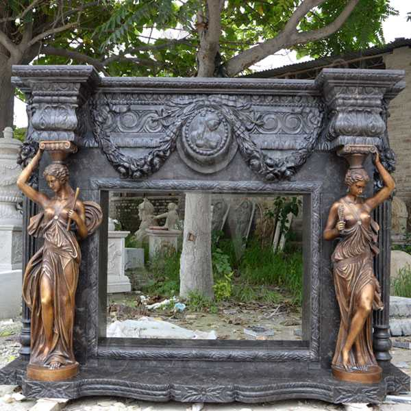 Life Size Black Antique Fireplace Mantels Custom Made Outdoor Fireplace Designs from Factory Supply MOKK-133