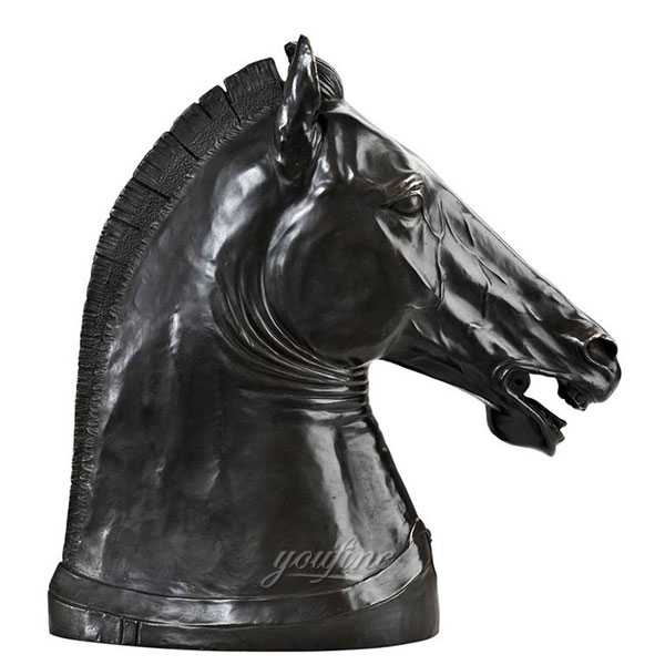 Bronze art black horse head sculpture garden ornament BOKK-584