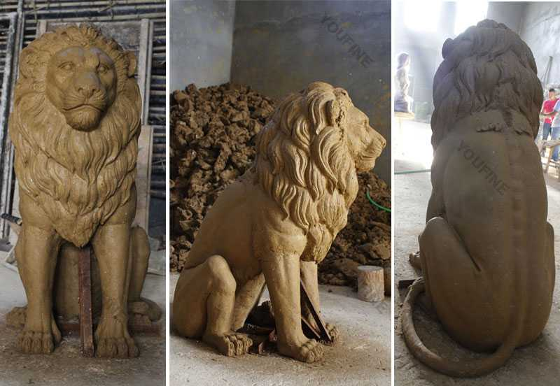 Clay-model-of-lion-statue