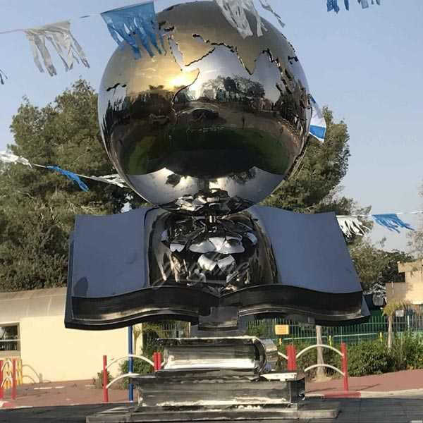 Contemporary high polished mirror custom made metal globe sculpture for Israel customer