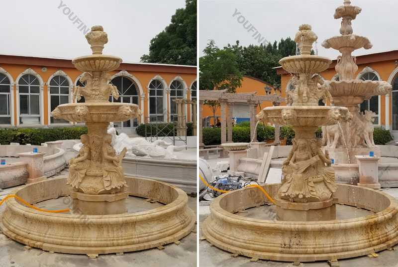 Custom Made 3 Tiered Yellow Marble Fountain For Sale