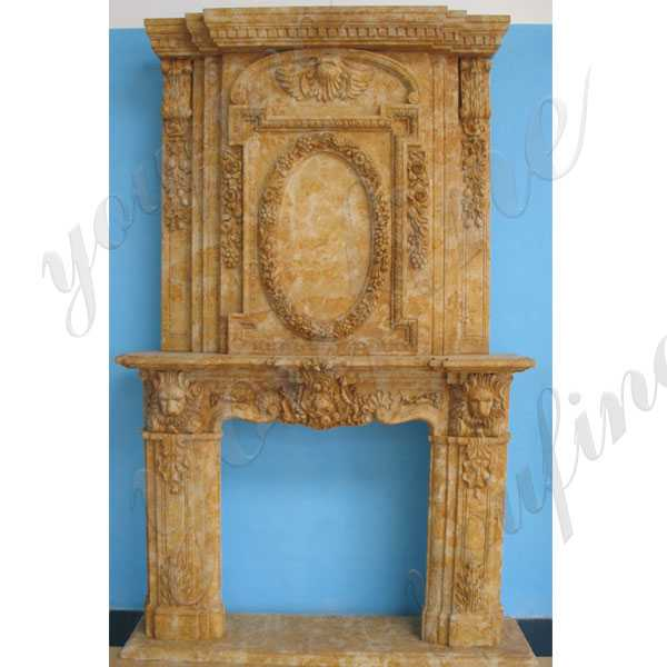 Custom Made Cheap Yellow Marble Overmantel Design Antique Fireplace Mantels Design for Sale–MOKK-145