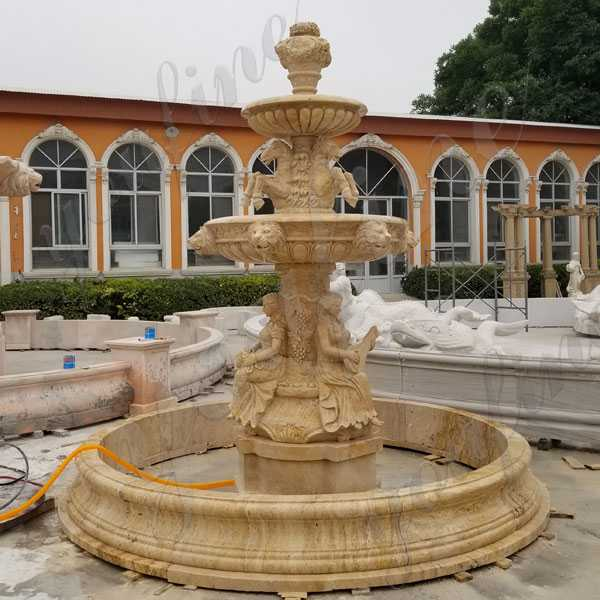 Custom Made Large 3 Tiered Yellow Marble Fountain With Figure Carving And Animal Statue Design Outdoor Garden Fountain for Sale MOKK-175